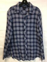 Banana Republic Button Up Long Sleeve Shirt Mens Size Large 16-16.5 Blue Plaid