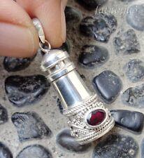 Garnet Solid Silver, 925 Bali Handcrafted Perfume Bottle Pendant 34124