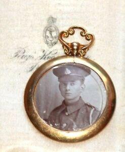 Antique dated Glasgow 1916 double photo locket pendant 9 ct gold
