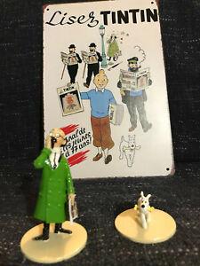 "Figurine ""Lisez Tintin"" Pixi 46304 Tournesol et Milou + plaque décorative. NEUF!"