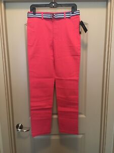 NWT Boy's Size 18 Polo Ralph Lauren Twill Red Coral Pants with Striped Belt