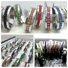 30Pcs Silver Wedding band Colorful Stone stainless steel rings wholesale Job Lot