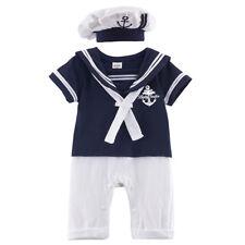 Bebé Niño Blanco Marinero Mameluco Azul Marino Ropa Traje De Verano Con Boinas