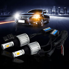 2x Dual-Color 7440 LED Bulb Switchback White/Amber DRL Turn Signal Light Canbus