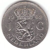 Netherlands 1 Gulden 1969 Nickel Coin - Juliana Koningin