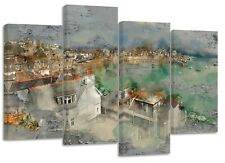 St. Ives, Cornwall, Watercolour rustic , new split canvas prints