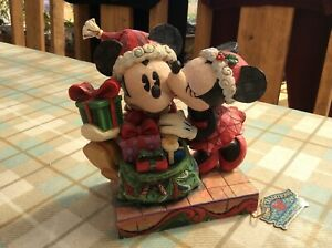 "V Rare Disney Tradition 'mickey & Minnie Mouse A Christmas Kiss' 6.5"" See Detail"