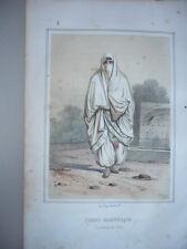 GRAVURE 1880 FEMME MAURESQUE ARABE COSTUME LITHOGRAPHIE COULEURS