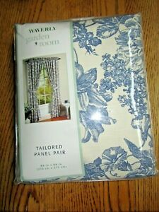 """DRAPES -WAVERLY BLUE & WHITE TOILE """"GARDEN ROOM""""-84""""X84""""-TAILORED PANEL PAIR-NEW"""