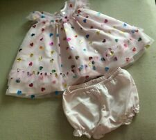 Pippa & Julia 6/9 Months Party Holiday Dress + Bloomer Pink Hearts Rainbow Puffy
