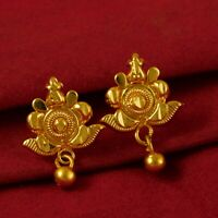 18K South India Women Bollywood Earring Ethnic Goldplated Stud Fashion Jewelry