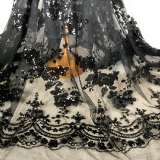 "1Yard Sequins Embroidered Mesh Black Lace Fabric Bride Wedding Dress 51"" Width"