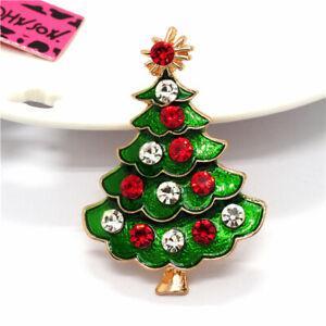 Betsey Johnson Christmas Tree Colorful Crystal Green Enamel  Charm Brooch Pin