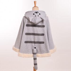 Game Neko Atsume Cloak Cute Cat Backyard Lolita Girl Hoodie Coat Warm Cape