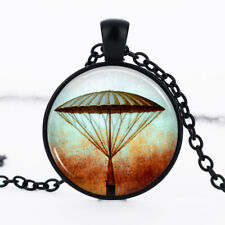Hot Air Balloon Black Dome Glass Cabochon Necklace chain Pendant #250