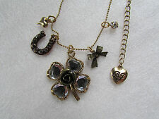 Betsey Johnson Necklace Lucky Clover Horseshoe Charms NEW