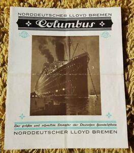 Norddeutscher Lloyd Bremen Columbus interiors fold out brochure