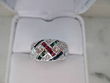 Antique style solid 14k White Gold Natural Ruby,Emerald,Sapphire,Diamond Ring4gm