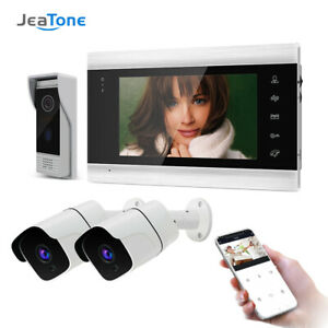 7 Inch WiFi Smart HD Video Doorbell Intercom System+2x720P Surveillance Camera