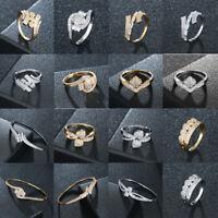 Ring Gold/Silber Kristall Zirkon Strass Ring Damen Schmuck Fingerring Hochzeit
