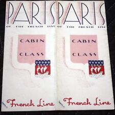 CGT FRENCH LINE SS PARIS Cabin Class Brochure