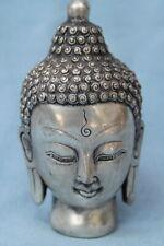 Decorative Exquisite Handwork Miao Silver Carved Buddha Head Auspicious Statue