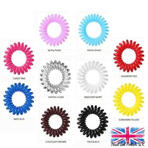 Genuine Invisi Bobble Hair Band Ring Pack of 3 Black Clear White Pink Brown Red