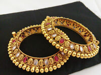 Bollywood Indian Fashion Traditional Gold Plated Ethnic Rajwada Bangles Jewelry