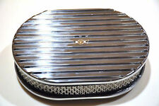 "12"" Polished Aluminum Nostalgia Full Finned Oval Air Cleaner street rod filter"