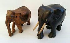 Vintage Pair of Edwardian Wooden Carved Elephants Solid Ebony & Bone + 1 Other