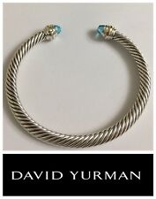 David Yurman Cable Classic Bracelet with Blue Topaz and 14K Gold 5mm Sz SMALL