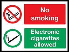 NO SMOKING / E CIGARETTES ALLOWED metal Aluminium Safety Sign