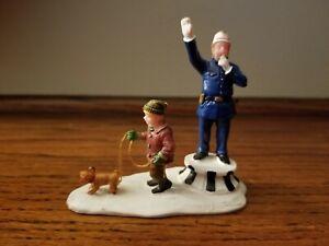 Lemax Christmas Village Figure Cop Bobby Policeman Little Boy walking dog rare!