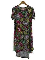 LuLaRoe Women's Paisley Carly Dress Small Psychedelic Stretch Swing Multi Color