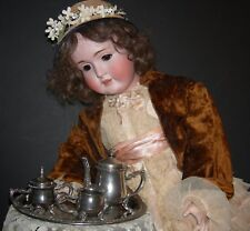 CHILD'S or DOLL'S SILVER PLATED TEA SET & TRAY - ORNATE HANDLES & FEET - VINTAGE