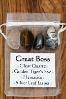 Great Boss Crystal Gift Set Clear Quartz Tiger's Eye Hematite Silver Leaf Jasper