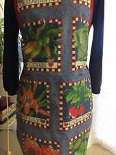 HANDMADE FALL APRON/ COTTON/COUNTRY LOOK  - VINTAGE SEED PKT DESIGN / CHEF STYLE