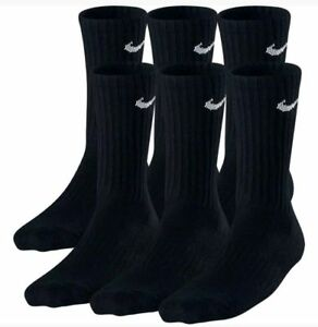 Nike Performance Cotton Cushioned Men's Crew BLACK  Socks 3 or 6 Pairs Size 8-12