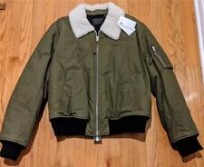 Mens Helmut Lang Shearling Collar Bomber Jacket Olive Large