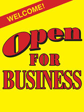"Welcome Open For Business Retail Display Sign, 18""w x 24""h, Full Color"