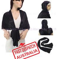 Party Wedding Prom Formal Evening Oblong Wrap Shrug Hijab Shawl Scarf BLACK