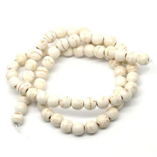 "2 Strands White Howlite Turquoise Loose Beads Round White 6mm(2/8"") Dia."