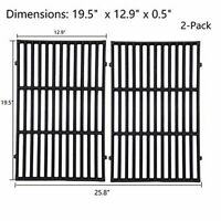 "Grill Cooking Grates Grid 2pcs 19.5"" for Weber Genesis 7524 7528 E310 E320 E330"