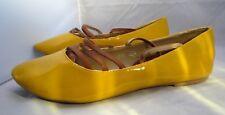 Ladies JOLYVIA Flat Heel Yellow brevet Shoe pump with Brown Straps UK 9 UE 43