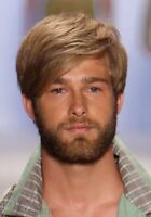 100% Human Hair Natural Short Straight Dark Blond Fashion Men's Wig