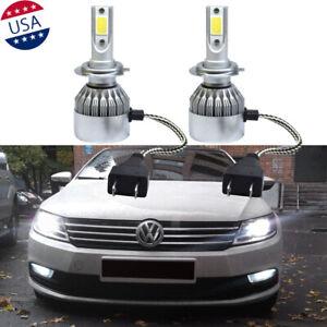 H7 6000K White LED Headlight Bulbs Hi/Lo Beam For VW Passat Jetta Golf Tiguan