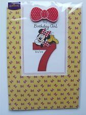 7th Birthday Girl Disney Minnie Mouse Age 7 Card With Badge