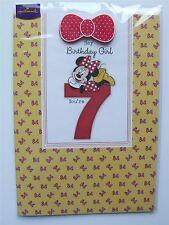 Disney Minnie mouse 7th Birthday card with bow badge by Hallmark