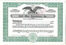 Gold Mine Enterprises, Inc. Stock Certificate Indiana Specimen