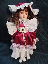 "Ashley Belle Beautiful Cloth / Porcelain Victorian 16"" Doll in Burgandy Satin"